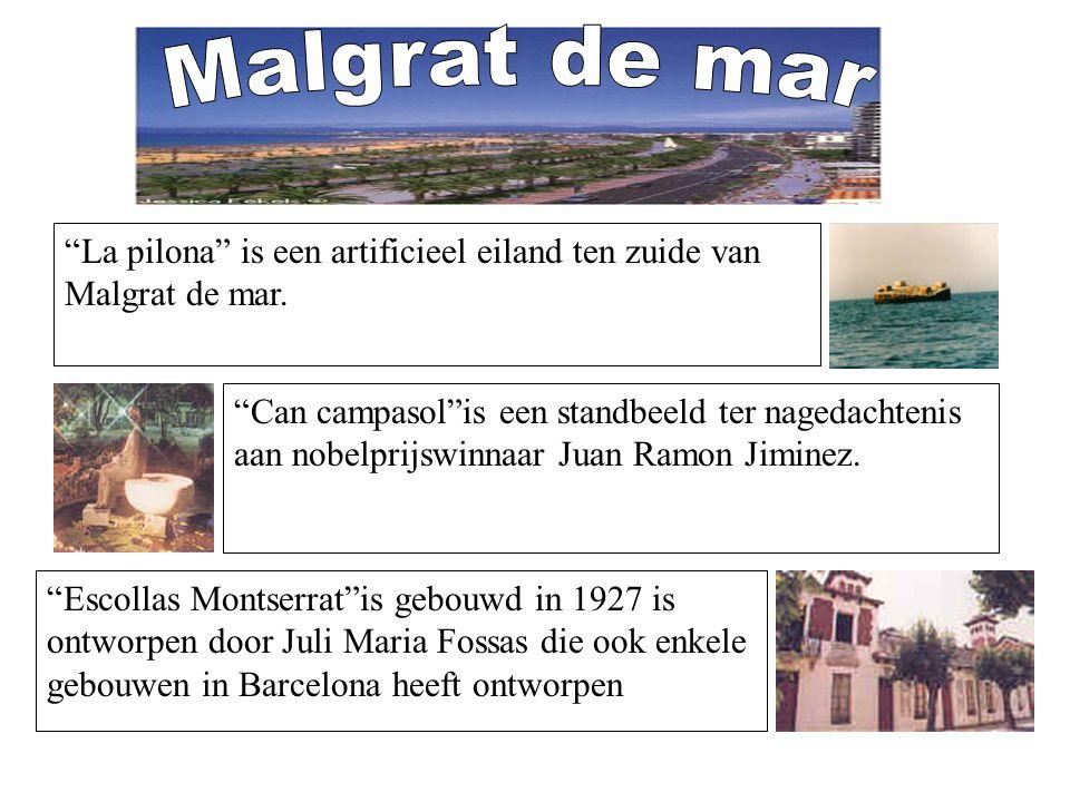 """""""La pilona"""" is een artificieel eiland ten zuide van Malgrat de mar. """"Can campasol""""is een standbeeld ter nagedachtenis aan nobelprijswinnaar Juan Ramon"""