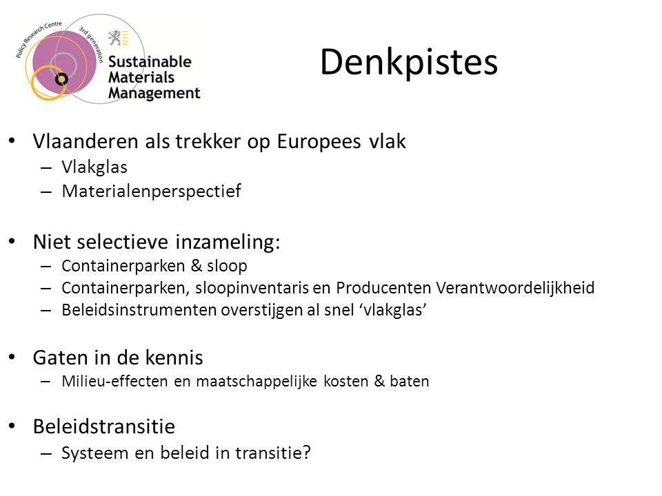 Denkpistes • Vlaanderen als trekker op Europees vlak – Vlakglas – Materialenperspectief • Niet selectieve inzameling: – Containerparken & sloop – Containerparken, sloopinventaris en Producenten Verantwoordelijkheid – Beleidsinstrumenten overstijgen al snel 'vlakglas' • Gaten in de kennis – Milieu-effecten en maatschappelijke kosten & baten • Beleidstransitie – Systeem en beleid in transitie?
