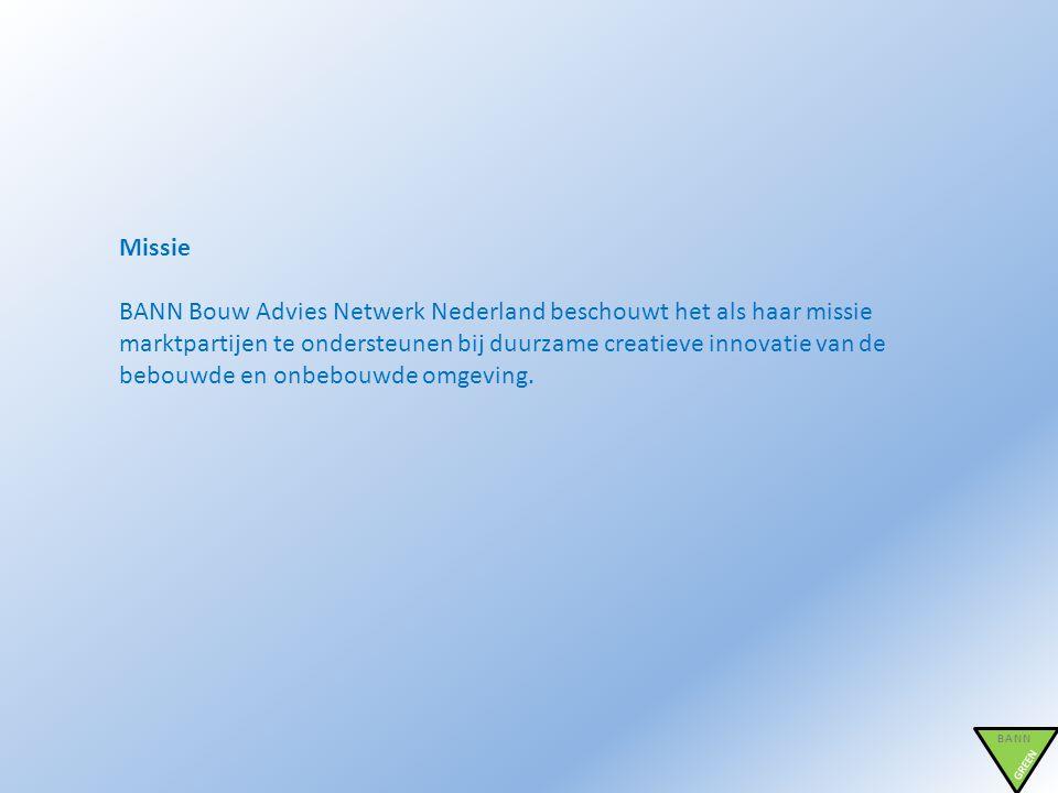 BANN GREEN Missie BANN Bouw Advies Netwerk Nederland beschouwt het als haar missie marktpartijen te ondersteunen bij duurzame creatieve innovatie van