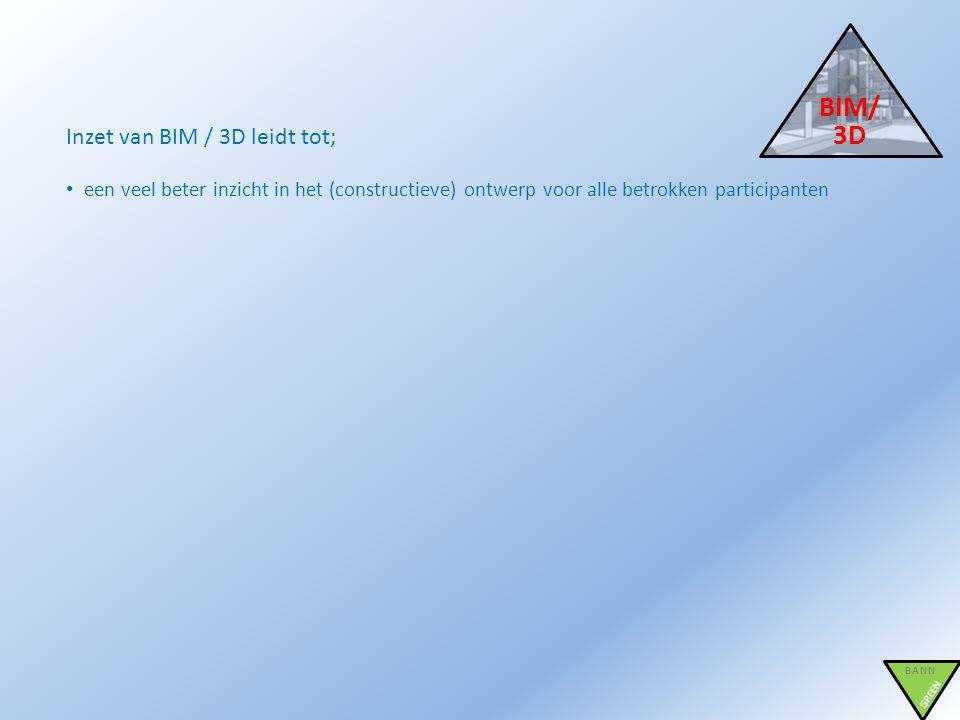 BIM/ 3D BANN GREEN Inzet van BIM / 3D leidt tot; • een veel beter inzicht in het (constructieve) ontwerp voor alle betrokken participanten