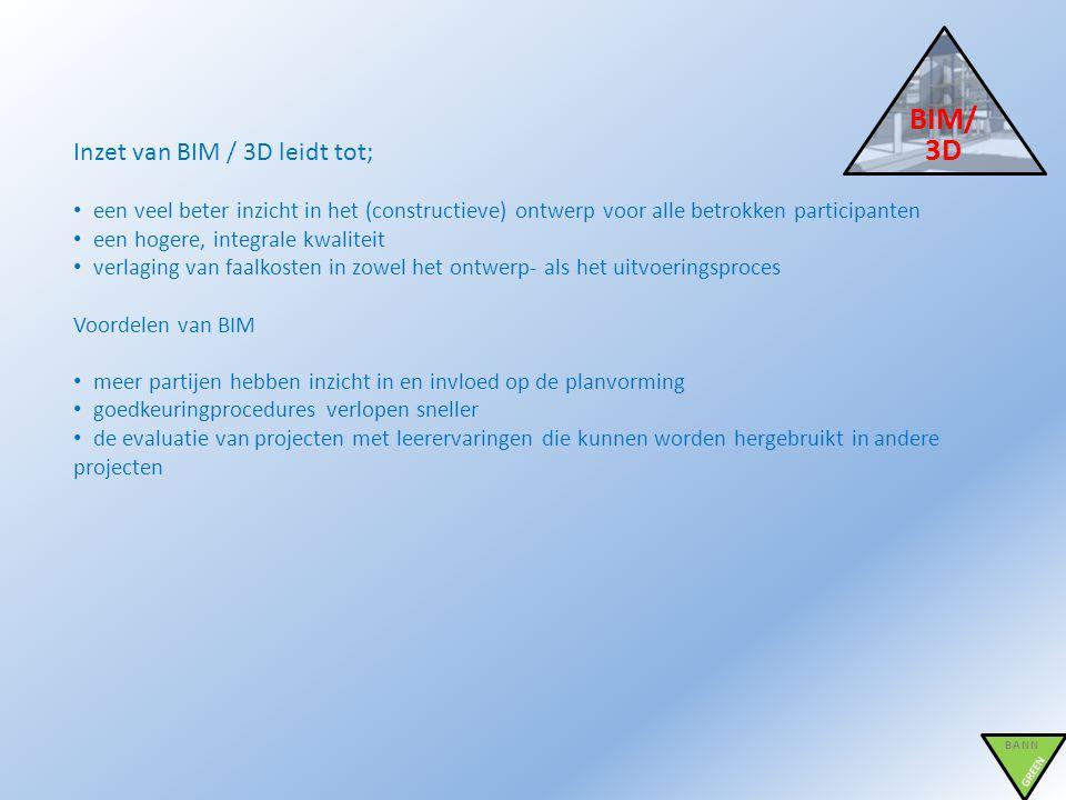 BIM/ 3D BANN GREEN Inzet van BIM / 3D leidt tot; • een veel beter inzicht in het (constructieve) ontwerp voor alle betrokken participanten • een hoger