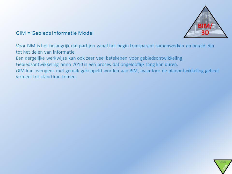 BIM/ 3D BANN GREEN GIM = Gebieds Informatie Model Voor BIM is het belangrijk dat partijen vanaf het begin transparant samenwerken en bereid zijn tot h