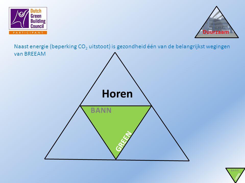 Duurzaam Naast energie (beperking CO 2 uitstoot) is gezondheid één van de belangrijkst wegingen van BREEAM BANN GREEN BANN GREEN Horen