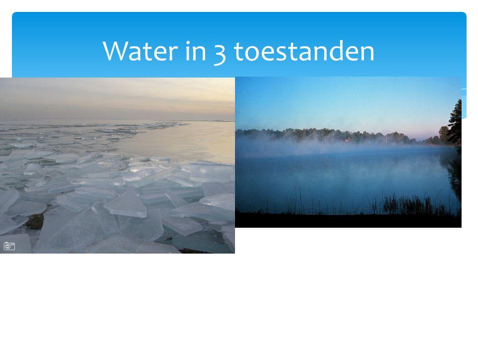  ijsGasvormig(waterdamp)  En gewoon water Water in 3 toestanden