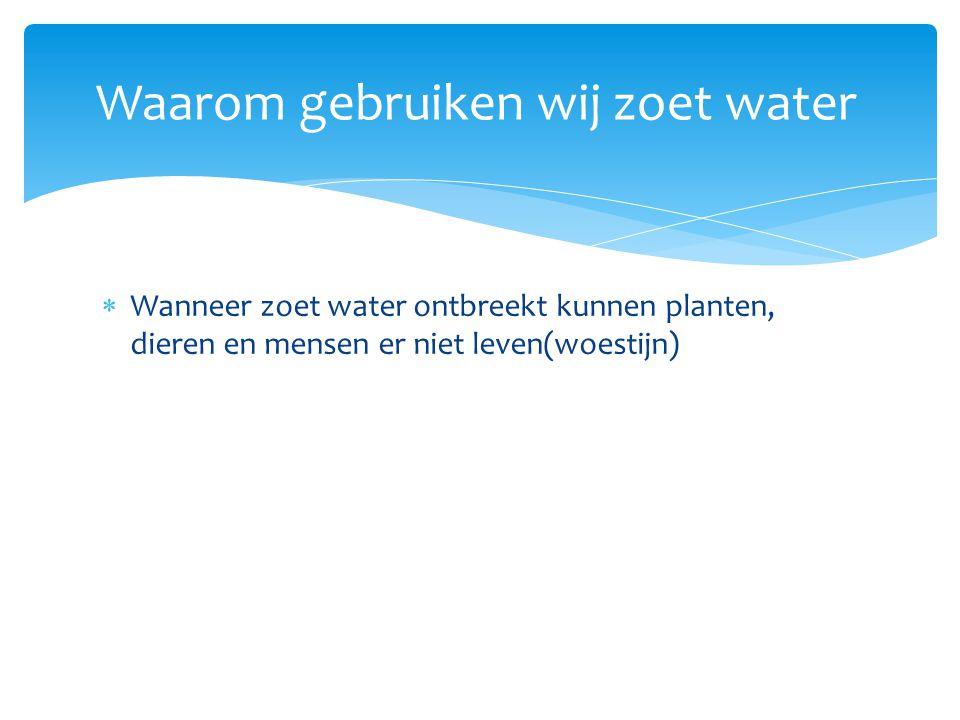  Wanneer zoet water ontbreekt kunnen planten, dieren en mensen er niet leven(woestijn)  We gebruiken het als drinkwater Waarom gebruiken wij zoet water