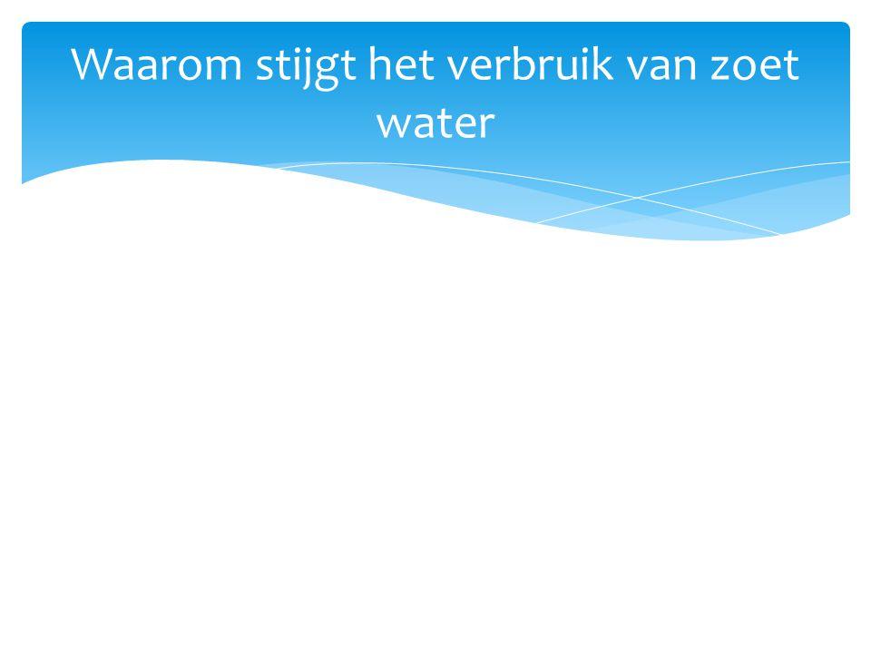  1950(2,5 miljard mensen) 2013(7 miljard) oftewel: bevolkingstoename Waarom stijgt het verbruik van zoet water