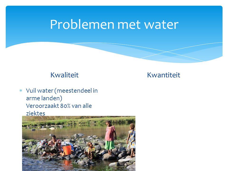 Problemen met water Kwaliteit  Vuil water (meestendeel in arme landen) Kwantiteit  Neerslag op aarde ongelijk verdeeld 1: Teveel water