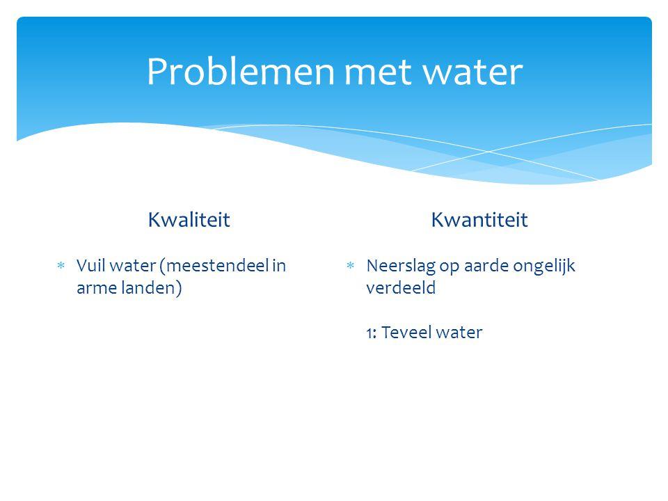 Problemen met water Kwaliteit  Vuil water (meestendeel in arme landen) Kwantiteit  Neerslag op aarde ongelijk verdeeld OORZAAK: regenwater stroomt snel naar de rivier toe Mede door ontbossing
