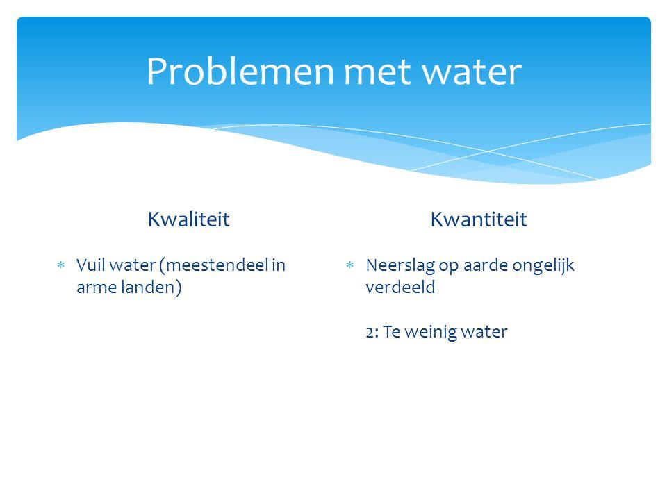Problemen met water Kwaliteit  Vuil water (meestendeel in arme landen) Kwantiteit  Neerslag op aarde ongelijk verdeeld 2: Te weinig water GEVOLG: mislukte oogsten, hongersnood, lage bevolkingsdichtheid