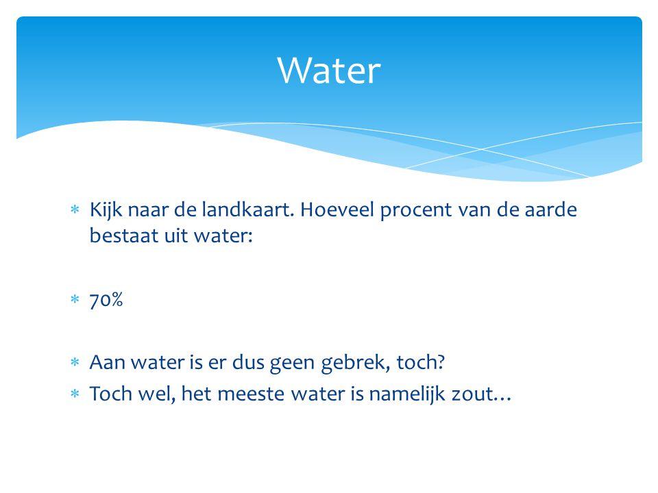 Zout water  97,5 % op de aarde  Niet te gebruiken  De zee  Het is eigenlijk zoet water waar zout en mineralen in zijn gekomen  Ontzilting(zout verwijderen) is mogelijk, maar een duur proces Zoet water  2,5 % op de aarde  Gedeeltelijk te gebruiken  Vooral Noord- en Zuidpool(70%)  30% zit in de grond  Eerste levensbehoefte van de mens  De toename hiervan neemt enorm toe(5x zo groot sinds 1950)
