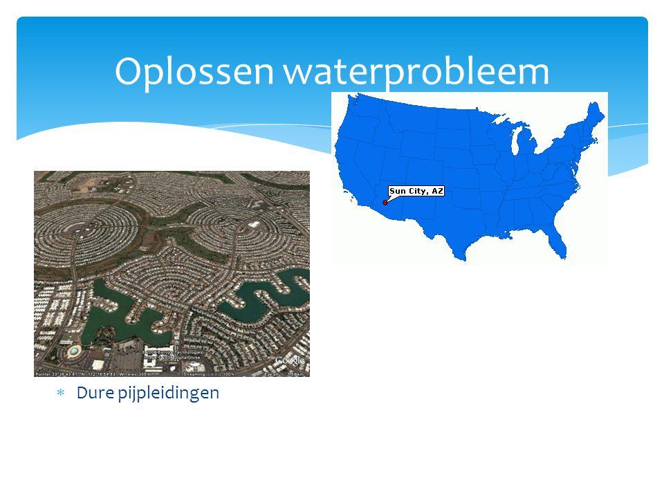 Oplossen waterprobleem Rijke landen  Bouw dure installaties die water schoonmaken  Strenge regels tegen lozingen  Dijken bouwen  Stuwdammen  Dure pijpleidingen