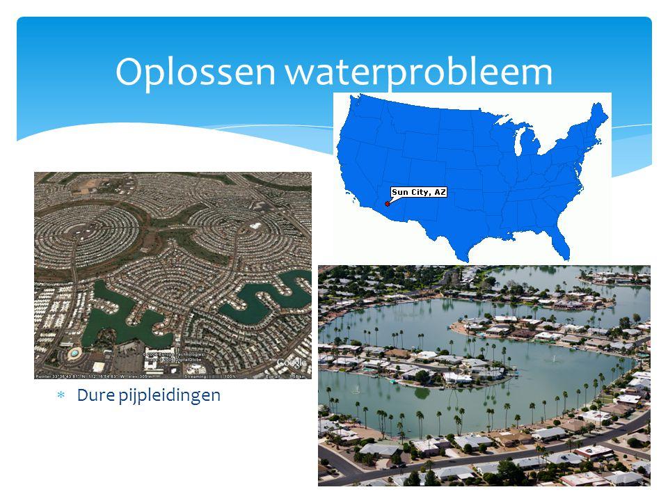 Oplossen waterprobleem Rijke landen  Bouw dure installaties die water schoonmaken  Strenge regels tegen lozingen  Dijken bouwen  Stuwdammen  Dure