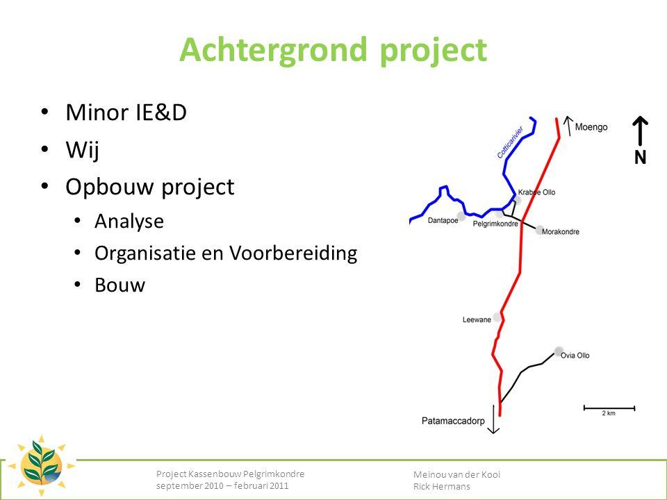 Achtergrond project • Minor IE&D • Wij • Opbouw project • Analyse • Organisatie en Voorbereiding • Bouw Project Kassenbouw Pelgrimkondre september 201