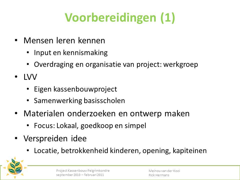 • Mensen leren kennen • Input en kennismaking • Overdraging en organisatie van project: werkgroep • LVV • Eigen kassenbouwproject • Samenwerking basis