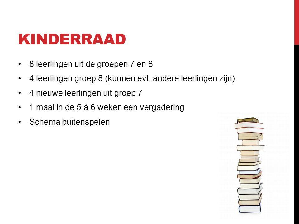 KINDERRAAD •8 leerlingen uit de groepen 7 en 8 •4 leerlingen groep 8 (kunnen evt.