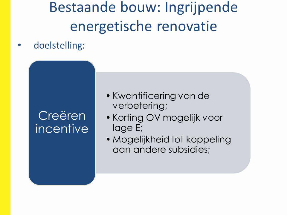 Bestaande bouw: Ingrijpende energetische renovatie • doelstelling: •Kwantificering van de verbetering; •Korting OV mogelijk voor lage E; •Mogelijkheid tot koppeling aan andere subsidies; Creëren incentive