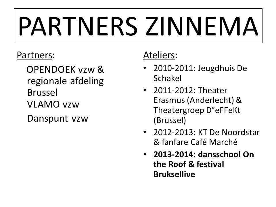 PARTNERS ZINNEMA Partners: OPENDOEK vzw & regionale afdeling Brussel VLAMO vzw Danspunt vzw Ateliers: • 2010-2011: Jeugdhuis De Schakel • 2011-2012: T