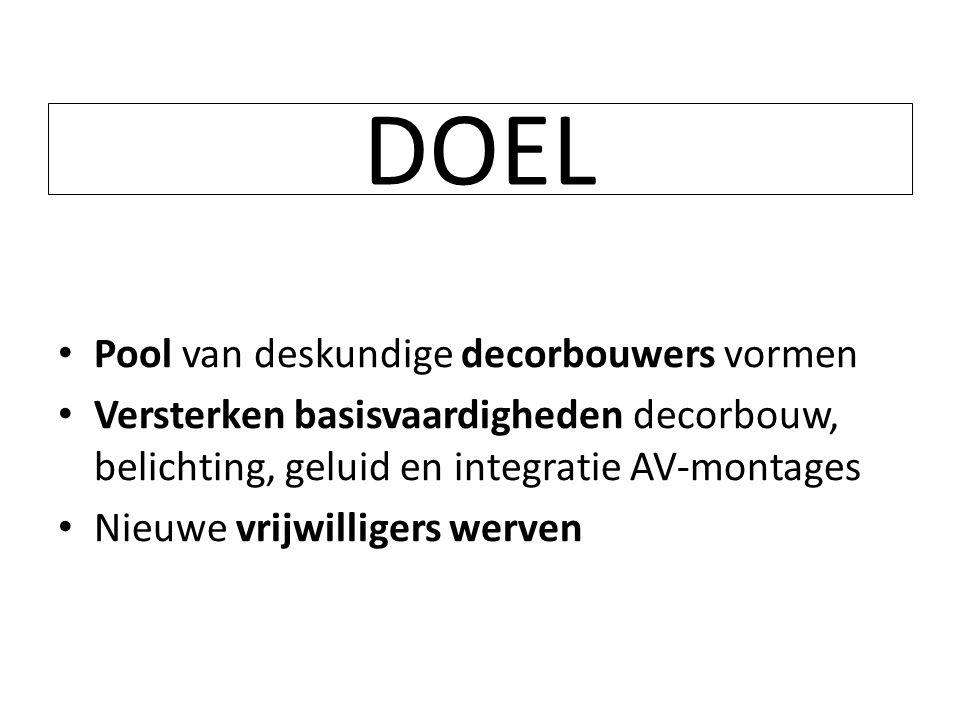 DOEL • Pool van deskundige decorbouwers vormen • Versterken basisvaardigheden decorbouw, belichting, geluid en integratie AV-montages • Nieuwe vrijwil