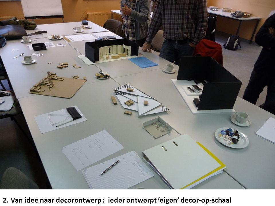 2. Van idee naar decorontwerp : ieder ontwerpt 'eigen' decor-op-schaal