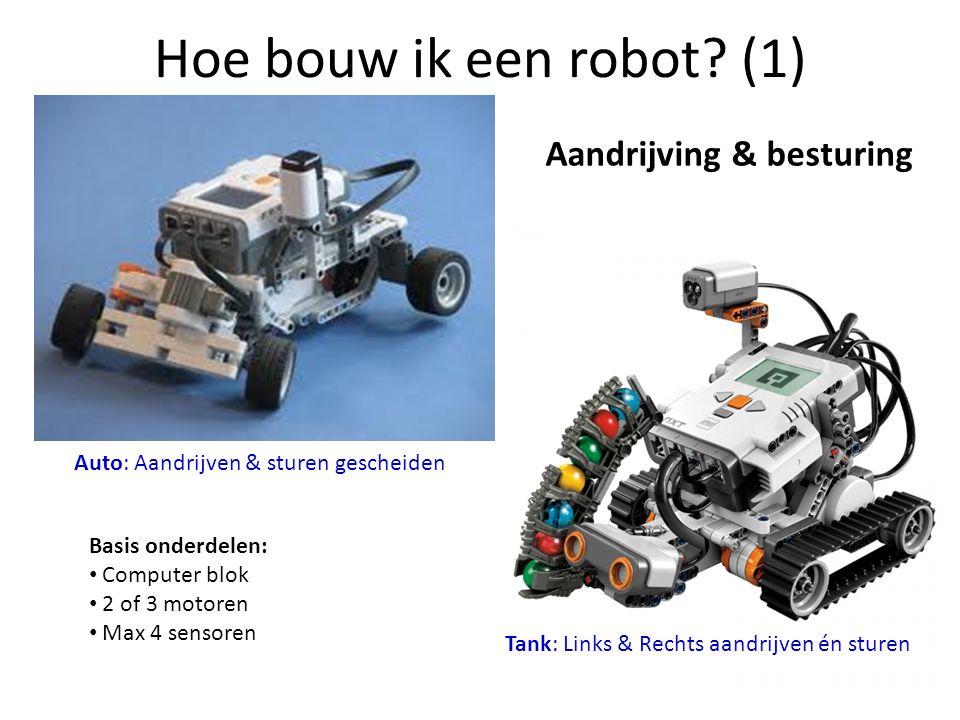Hoe bouw ik een robot? (1) Aandrijving & besturing Auto: Aandrijven & sturen gescheiden Tank: Links & Rechts aandrijven én sturen Basis onderdelen: •