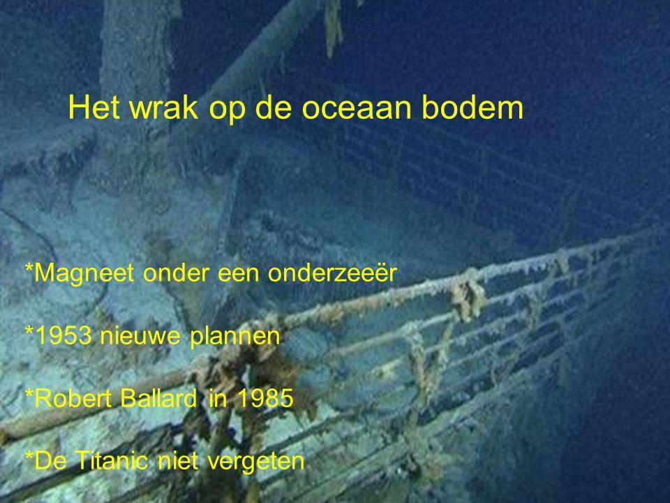 Het wrak op de oceaan bodem *Magneet onder een onderzeeër *1953 nieuwe plannen *Robert Ballard in 1985 *De Titanic niet vergeten