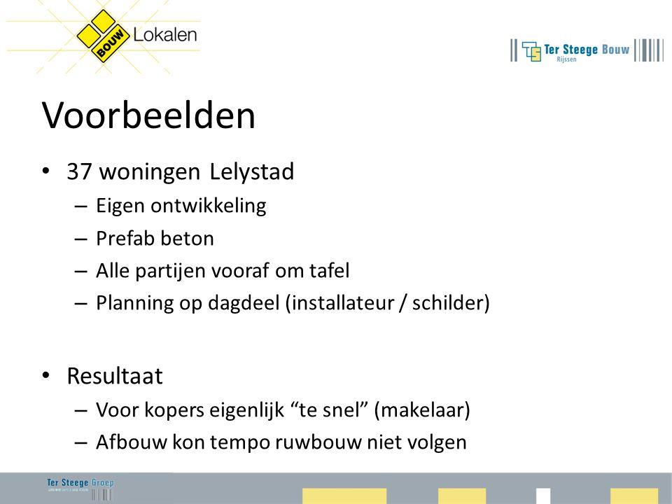 Voorbeelden • 37 woningen Lelystad – Eigen ontwikkeling – Prefab beton – Alle partijen vooraf om tafel – Planning op dagdeel (installateur / schilder)