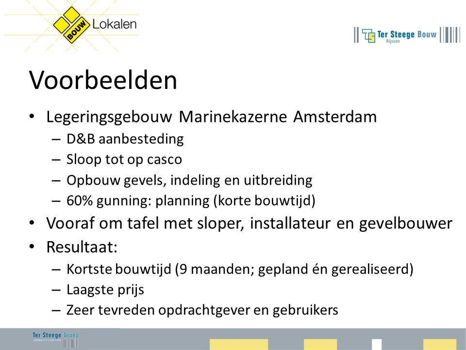 Voorbeelden • Legeringsgebouw Marinekazerne Amsterdam – D&B aanbesteding – Sloop tot op casco – Opbouw gevels, indeling en uitbreiding – 60% gunning: