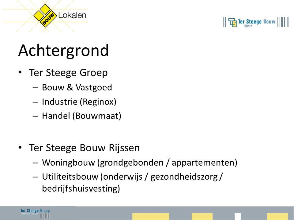Achtergrond • Ter Steege Groep – Bouw & Vastgoed – Industrie (Reginox) – Handel (Bouwmaat) • Ter Steege Bouw Rijssen – Woningbouw (grondgebonden / appartementen) – Utiliteitsbouw (onderwijs / gezondheidszorg / bedrijfshuisvesting)