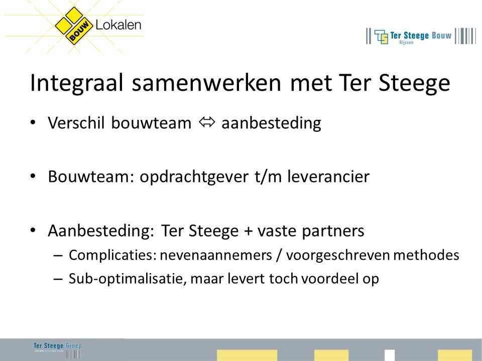 Integraal samenwerken met Ter Steege • Verschil bouwteam  aanbesteding • Bouwteam: opdrachtgever t/m leverancier • Aanbesteding: Ter Steege + vaste p
