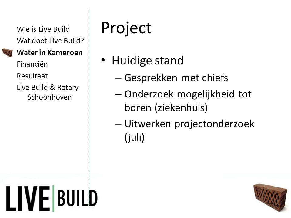 Project • Huidige stand – Gesprekken met chiefs – Onderzoek mogelijkheid tot boren (ziekenhuis) – Uitwerken projectonderzoek (juli) Wie is Live Build Wat doet Live Build.