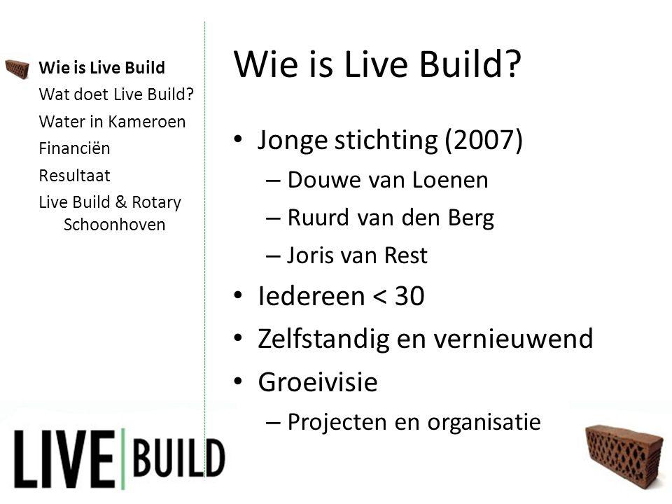 Live Build & Rotary • Rotary International – Speerpunt: water – Matching grant • Doelstellingen synchroon • Link, Karin Sterrenburg Wie is Live Build Wat doet Live Build.