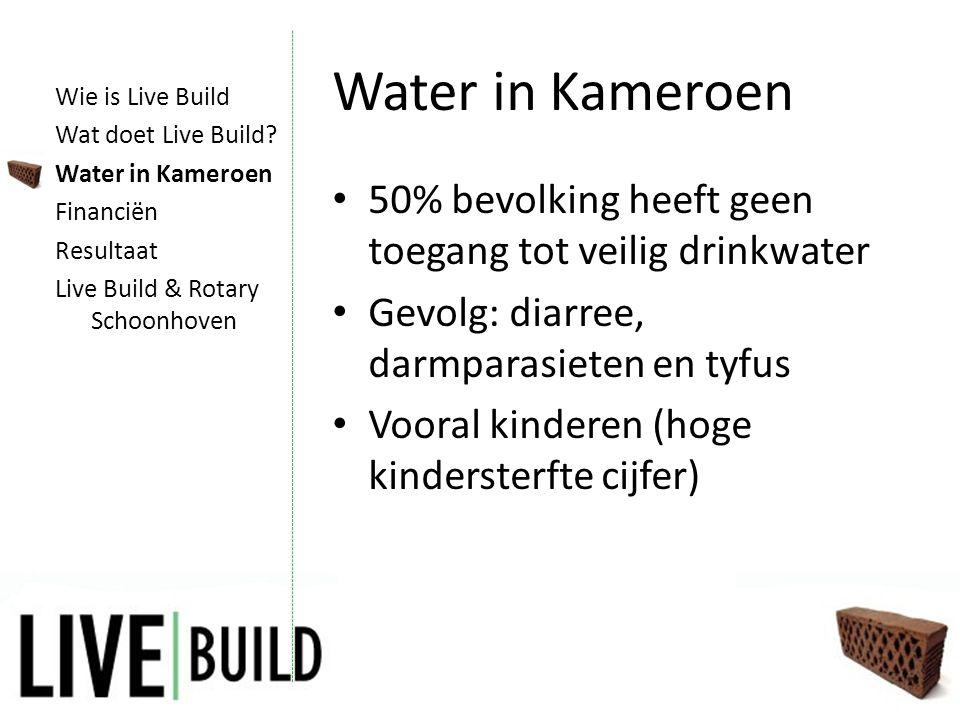Water in Kameroen • 50% bevolking heeft geen toegang tot veilig drinkwater • Gevolg: diarree, darmparasieten en tyfus • Vooral kinderen (hoge kindersterfte cijfer) Wie is Live Build Wat doet Live Build.