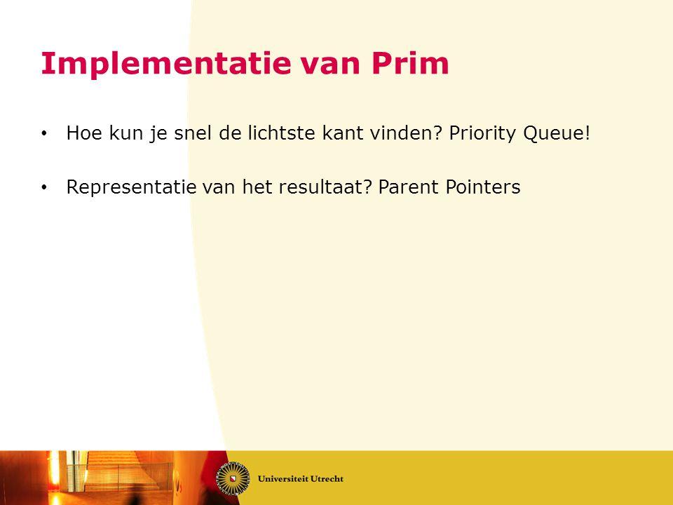 Implementatie van Prim • Hoe kun je snel de lichtste kant vinden.