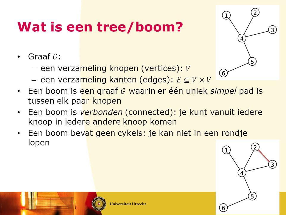 Algoritme van Prim • Bouw de boom op door steeds 1 kant toe te voegen • Kies een beginknoop • Bekijk de knopen die je in 1 stap kunt bereiken • Kies de lichtste van de uitgaande kant • Je kiest steeds de lichtste boomverlatende kant