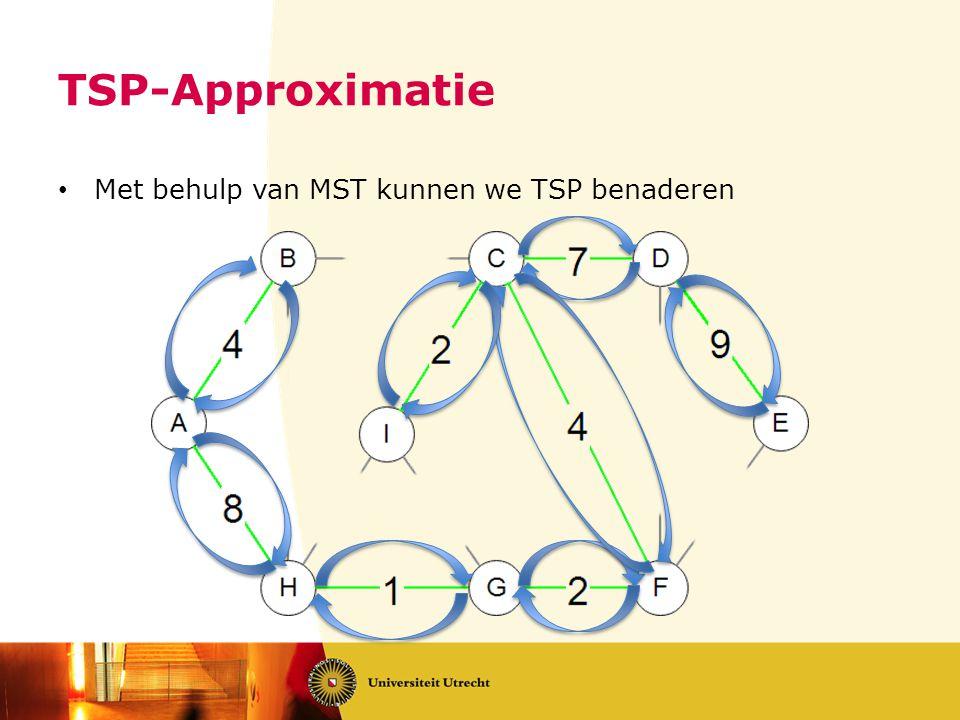 TSP-Approximatie • Met behulp van MST kunnen we TSP benaderen