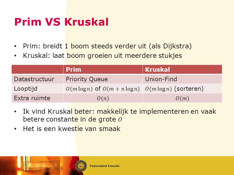 Prim VS Kruskal PrimKruskal DatastructuurPriority QueueUnion-Find Looptijd Extra ruimte