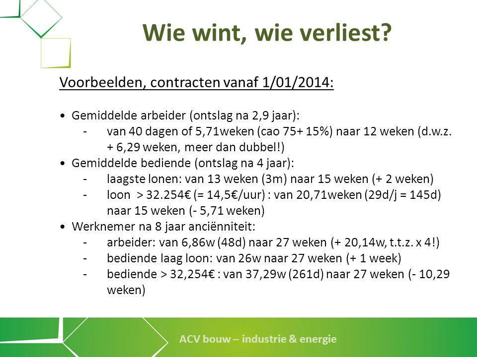 ACV bouw – industrie & energie Wie wint, wie verliest? Voorbeelden, contracten vanaf 1/01/2014: • Gemiddelde arbeider (ontslag na 2,9 jaar): - van 40