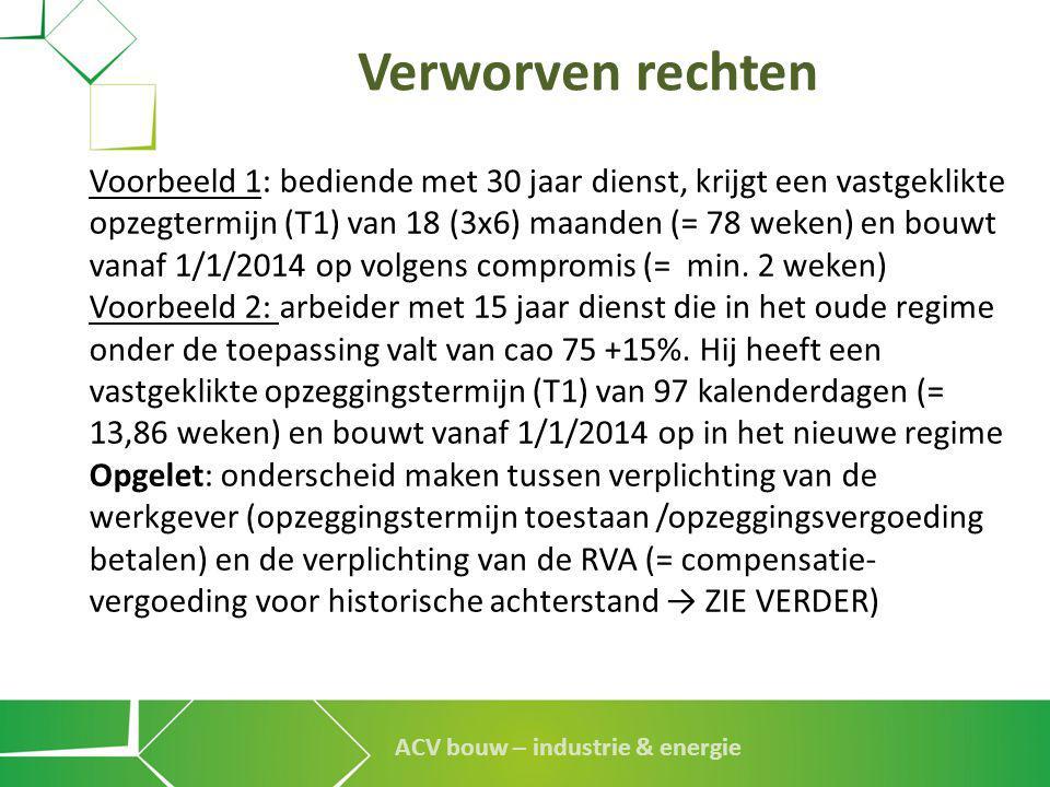 ACV bouw – industrie & energie Verworven rechten Voorbeeld 1: bediende met 30 jaar dienst, krijgt een vastgeklikte opzegtermijn (T1) van 18 (3x6) maan