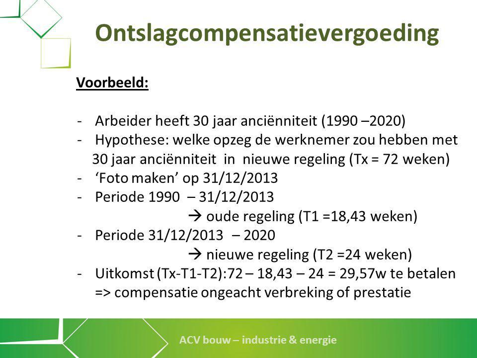 ACV bouw – industrie & energie Ontslagcompensatievergoeding Voorbeeld: -Arbeider heeft 30 jaar anciënniteit (1990 –2020) -Hypothese: welke opzeg de we