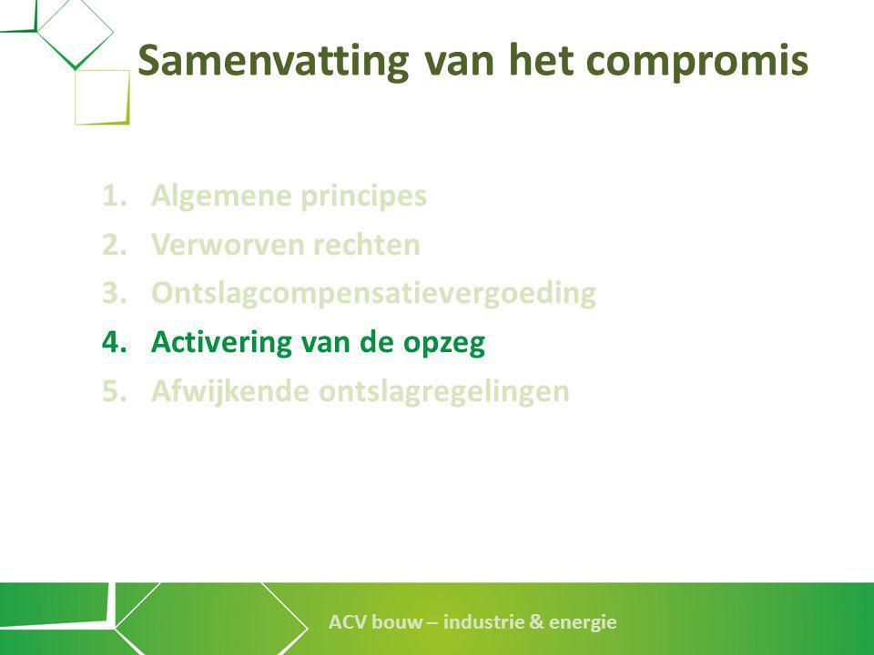 ACV bouw – industrie & energie 1.Algemene principes 2.Verworven rechten 3.Ontslagcompensatievergoeding 4.Activering van de opzeg 5.Afwijkende ontslagr