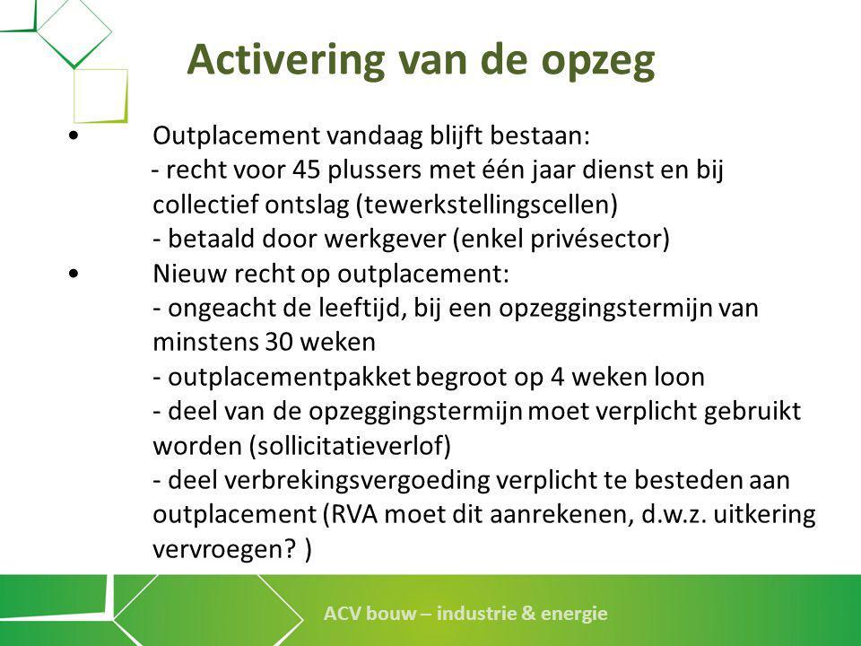 ACV bouw – industrie & energie Activering van de opzeg •Outplacement vandaag blijft bestaan: - recht voor 45 plussers met één jaar dienst en bij colle