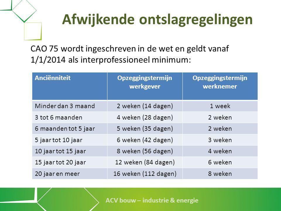 ACV bouw – industrie & energie Afwijkende ontslagregelingen CAO 75 wordt ingeschreven in de wet en geldt vanaf 1/1/2014 als interprofessioneel minimum