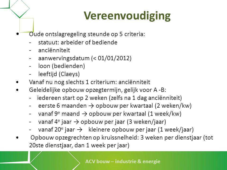 ACV bouw – industrie & energie Vereenvoudiging • Oude ontslagregeling steunde op 5 criteria: - statuut: arbeider of bediende -anciënniteit -aanwerving