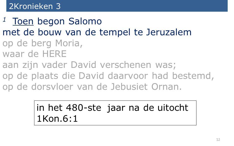 12 2Kronieken 3 1 Toen begon Salomo met de bouw van de tempel te Jeruzalem op de berg Moria, waar de HERE aan zijn vader David verschenen was; op de p
