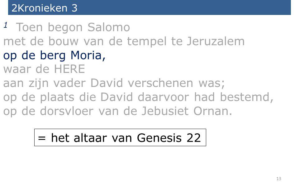 13 2Kronieken 3 1 Toen begon Salomo met de bouw van de tempel te Jeruzalem op de berg Moria, waar de HERE aan zijn vader David verschenen was; op de p