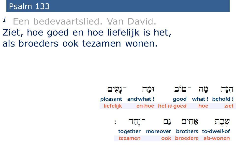 36 Psalm 133 1 Een bedevaartslied. Van David. Ziet, hoe goed en hoe liefelijk is het, als broeders ook tezamen wonen.