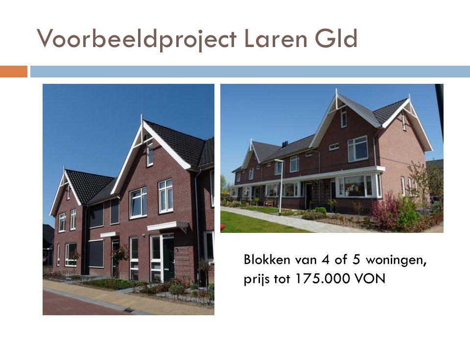 Voorbeeldproject Laren Gld Blokken van 4 of 5 woningen, prijs tot 175.000 VON