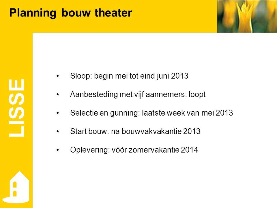 LISSE Planning bouw theater •Sloop: begin mei tot eind juni 2013 •Aanbesteding met vijf aannemers: loopt •Selectie en gunning: laatste week van mei 20