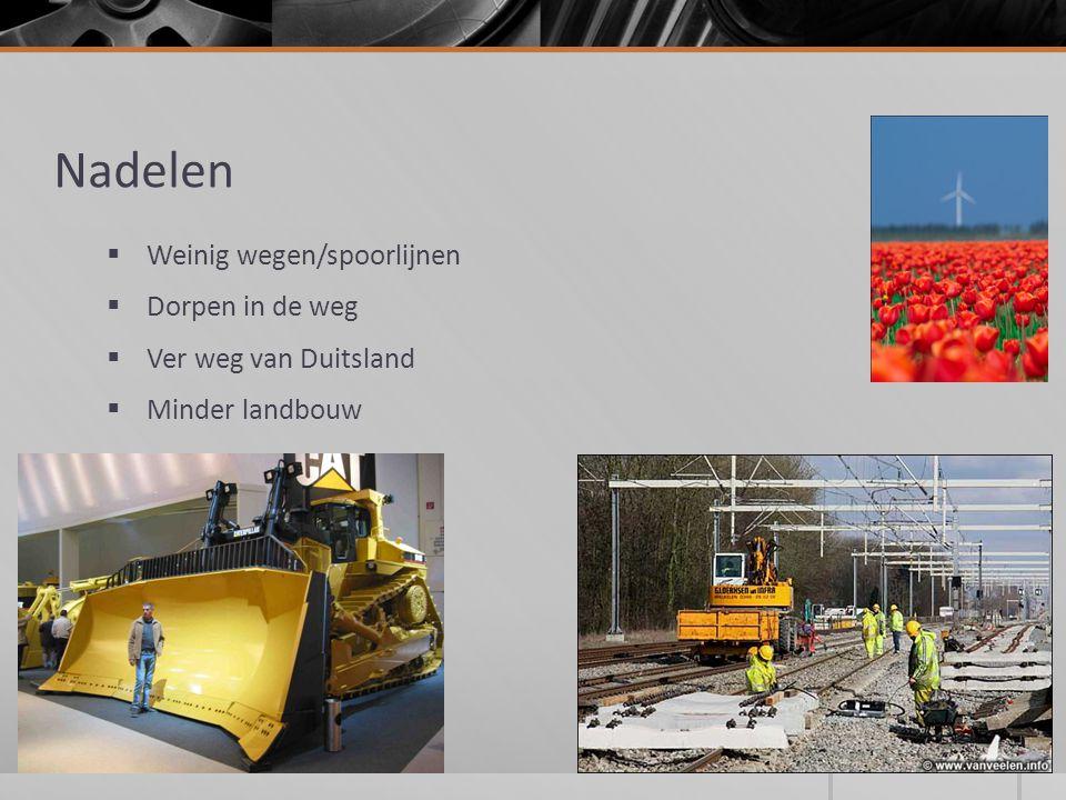 Nadelen  Weinig wegen/spoorlijnen  Dorpen in de weg  Ver weg van Duitsland  Minder landbouw