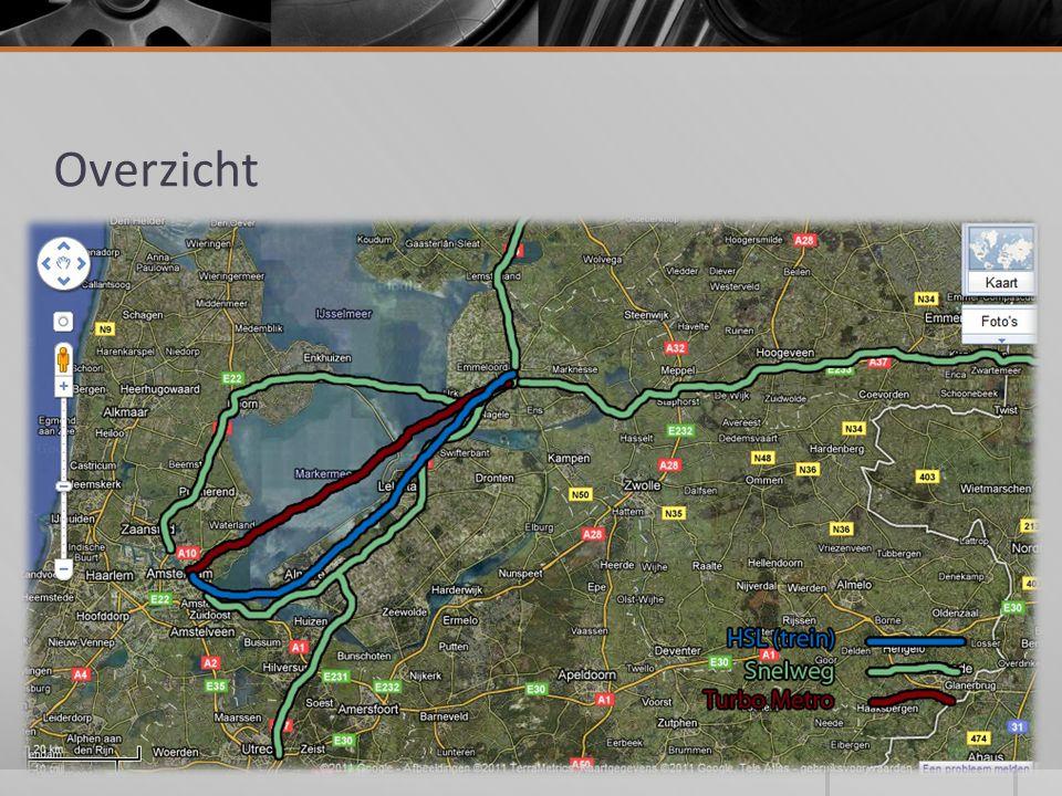 Wegen  12 Baans weg (2x6)  Wegverbreding A27, Utrecht - Almere A1, Amsterdam - Muidenberg A6, Muidenberg - Emmeloord A37, Duitse grens - Emmeloord A7, Amsterdam - Hoorn  Nieuwe weg: A3, Hoorn - Emmeloord